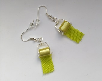 Beadwoven/Beadwork Toilet Paper Earrings, Lime Green Earrings, Miracle Beads, Silver Plated Ear Wire - Funny Gift for Her by enchantedbeads