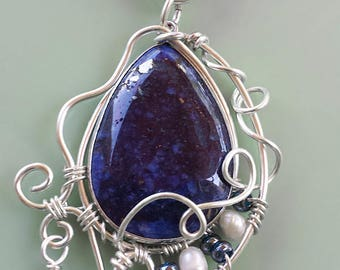 Lapis pendant, freshwater pearls. silver wirewrapped, handmade, necklace, blue