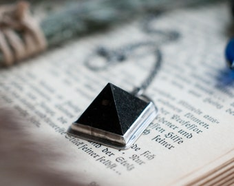 Nuummite and sterling silver necklace, Nuummite pyramid, geometric pendant, Sorcerer stone, Magick talisman, natural amulet, black gemstone