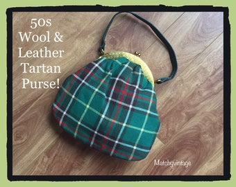FREE SHIPPING | Mid Century Modern Handbag | Plaid 50s Top Handle Bag | 50s Pouch Purse | Green Tartan Clutch
