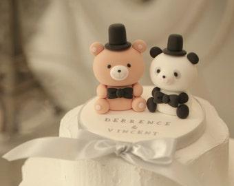 Panda and bear Wedding Cake Topper,panda wedding cake topepr