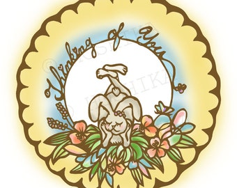 Bunny, Thinking of You, prints of Kiri-e (hand-cut paper art), set of 6 greeting cards