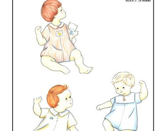 Romper Pattern / Classic baby boy style / Buttons down the back / Snaps at the crotch / Collar variations / by Creations by Michie #133