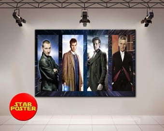 Doctor Who, Set of 4, Doctor Who Actors, Matthew Smith, David Tennant, Peter Capaldi, anvas, Doctor Who wall art, Doctor Who print