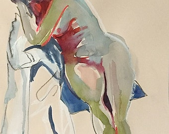 Nude #1533- original watercolor painting by Gretchen Kelly