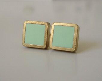 cool mint green brass square stud earrings