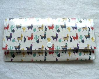 Lamas, trésorerie enveloppes portefeuille pour femme, promo & réception support, étui en plastique, cousu à la main, 7 pouces par 3 pouces, argent qui se tient sur la longueur