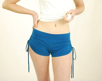 Booty Shorts - Yoga Shorts - Blue - Eco Friendly Jersey - Organic Clothing - Several Colors Available