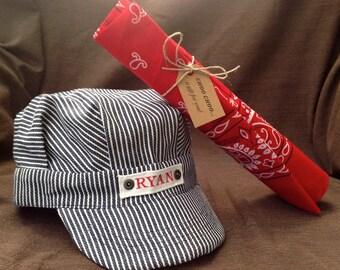 Personalized Train Hat, Train Conductor Costume, Hallowen Costume, Train Engineer Hat, Custom Kids Hat, Boy Train Hat, Toddler Boy Train Hat