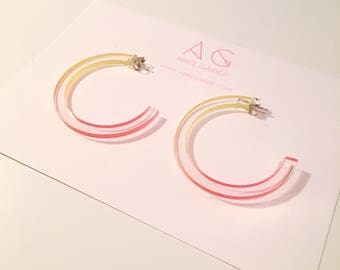 Ombre Yellow and Pink Hoop Earrings  - Bold Laser Cut Hand Dyed Dip Dyed Gradient Acrylic Perspex Geometric Earrings