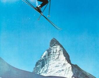 Vintage Zermatt Switzerland Winter Sports Tourism Poster A3 Print