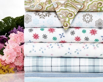 Bibb Home Extra Soft Deep Pocket Printed Flannel Sheet Set - 6 Colors