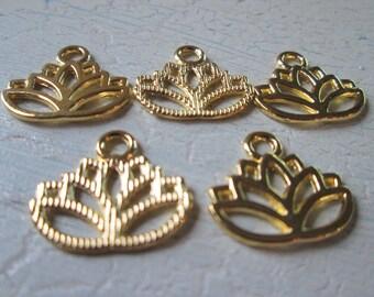 5 Gold Pendants * Lotus blossom * charm * flower * Jewelry pendant * Asian * Jewelry