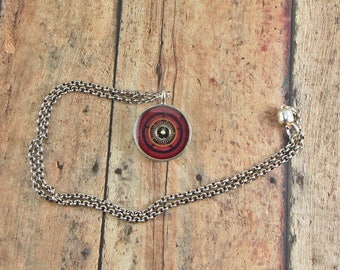 Steampunk Watch Gears Necklace, Watch Parts Pendant, Red and Black Pendant  Mixed Media, Altered Art, Art Jewelry necklace, Resin Jewelry