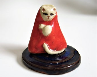 Little Red Jizo Kitty Cat Porcelain Tiny Collectible Miniature Ceramic Folk Art Kitten Figurine