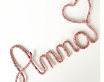 Wool - knitting and heart Word initials