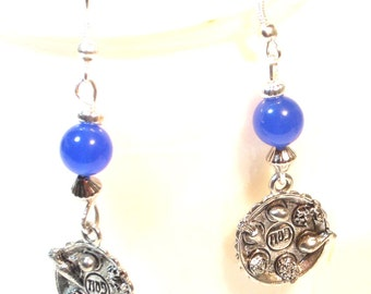 Passover Earrings - Seder Plate Blue Glass Beaded Earrings
