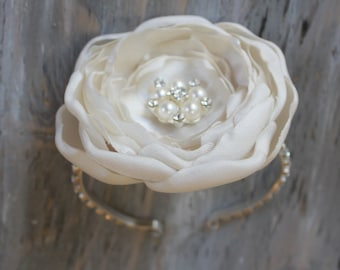 Wrist Corsage Ivory Wedding  Corsage Mothers  Corsage Satin Corsage Prom Corsage Flower Corsage Wristlet Corsage Wedding  Ivory Corsage