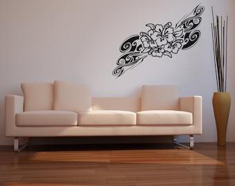 Vinyl Wall Decal Sticker Hawaiian Flower Swirl OSAA373B