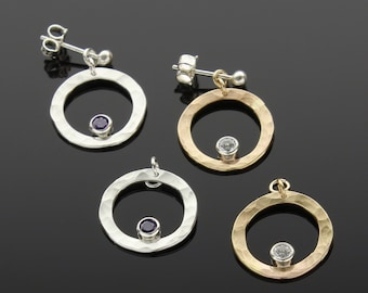 Handmade Silver and Gold Interchangeable Earrings with Cubic Zirconia