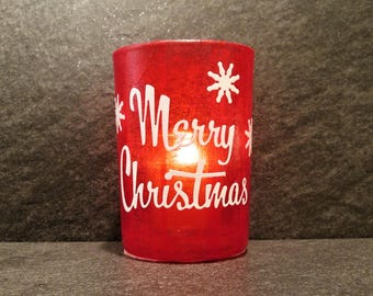 Red Merry Christmas Large Votive Candle Holder with Candle