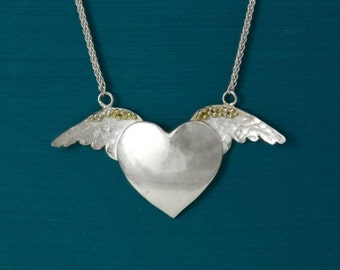 Sterling Silver and gold winged heart necklace