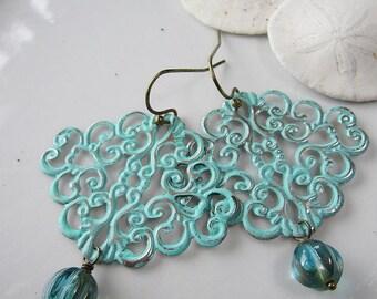 Bohemian Filigree Earrings, Turquoise, Blue Patina, Bridesmaid Earrings, Gardendiva