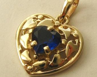 Genuine SOLID 9K 9ct YELLOW GOLD Heart Shape Filigree September Birthstone Sapphire Love Pendant