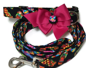 Flip flops Button Bow Dog Collar and Leash Set All Sizes