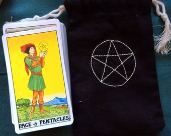 Black Tarot Oracle Deck Bag with White Pentacle