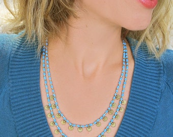 Double Layered Turquoise Necklace, Bohemian Necklace,Tribal Necklace,Gypsy Necklace,Hippie Necklace, Hippie Jewelry, Tribal Jewelrt