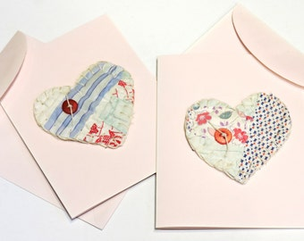 Valentines Day Cards, Patchwork Heart Blank Notecards, Handmade Unique Wedding, Baby, Anniversary,All Occasion Greeting Note itsyourcountry