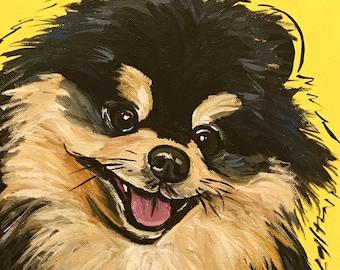 Pomeranian Art Print, Colorful Pomeranian art, Canvas or Archival Paper options