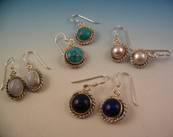 Pearls,Turquoise, Lapis, dangle silver earrings