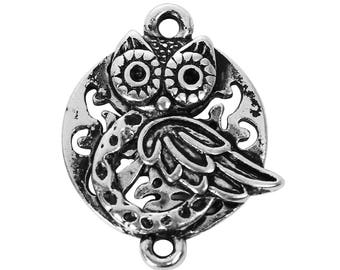 4 or 8pcs - 20x15mm - Owl Pendant - Owl Connector - Owl Charms - Silver Connectors - Bracelet Connector - Silver Connector - (182)