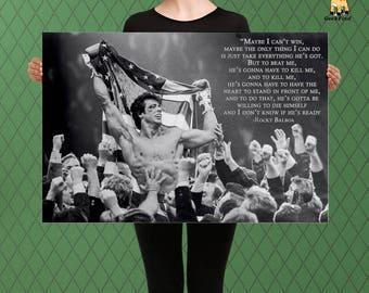 Rocky Inspired Motivational Art, Inspirational Quote, Winning Isn't Easy, Custom Raised Canvas Art Piece