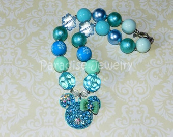 Frozen Minnie Pendant Chunky Bead Necklace Minnie Mouse Inspired Snowflake Frozen Necklace Disney Party Little Girl Necklace Disneyland Trip