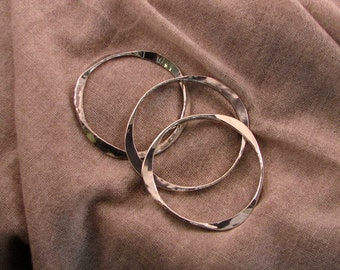 Heavy Sterling Silver Hammered Bangles