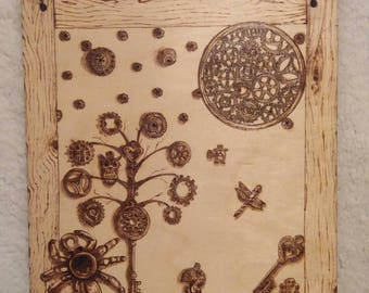Pyrography Wall Art / steampunk style / pyrography on beech plaque / original artwork / ready to hang