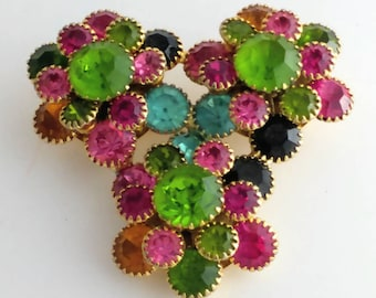 Triple Bouquet Floral Flower Rhinestones Brooch Pin Unsigned
