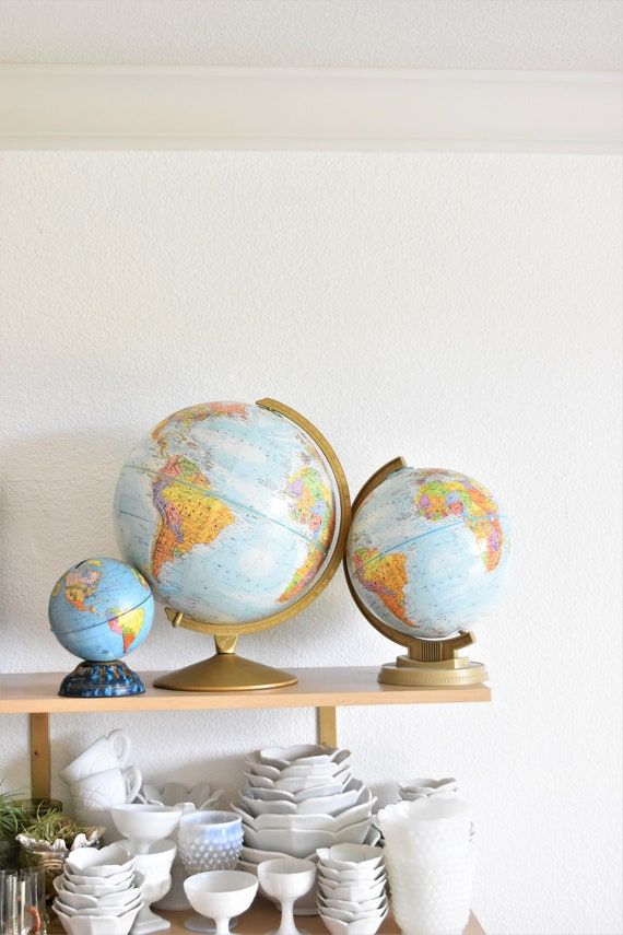 "9"" multicolored vintage replogle world globe / raised relief atlas"