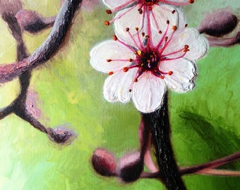 cherry blossom palette knife heavy bodied acrylic painting by Jodeen betton