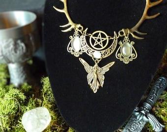 Black Necklace Pagan Medieval antique bronze white goddess Elf Pentagram present set crescent moon Lunar
