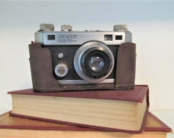 1940s Perfex Fifty Five vintage camera, with leather case