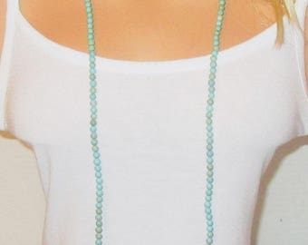 """Long Turquoise Necklace - Necklace in Photo is 50"""" Long"""