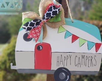 Camper door hanger, camper decor, wood door hanger, glamping, camping decor, camping door hanger, retro camper