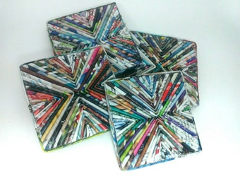 Upcycled Eco Friendly Newspaper Coaster, Set of 4