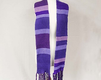 Striped Purple Scarf 1920s College style Multi shades of lavender mauves and purple 86 inches Long including the fringe