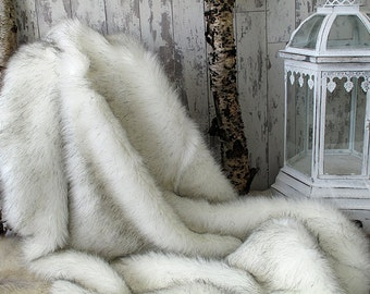 Luxurious Arctic Fox White and Black Faux Fur bed or Sofa Throw with ivory faux-suede lining in a range of sizes