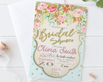 Watercolor Bridal Shower Invitation / Digital Printable Invite / DIY Floral Party